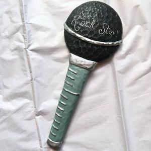Kirklands Rock Star Teal Microphone Hand Mirror